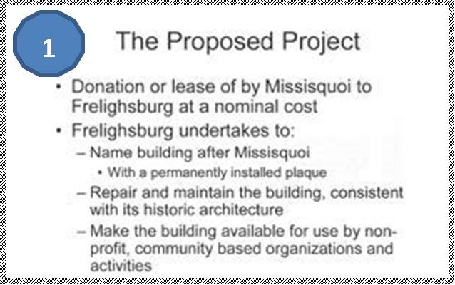 Extrait du projet formulé par Charles Crawford et le maire Chabot présenté à The Missisquoi Insurance Company en décembre 2005