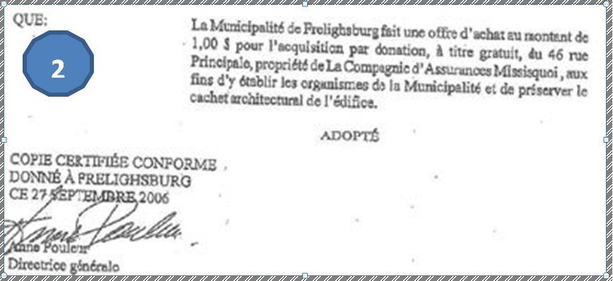 Extrait d'une résolution du conseil municipal tenue le 6 septembre 2006