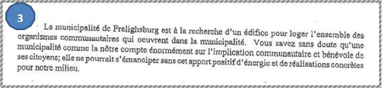 Extrait d'une lettre de la mairie à la compagnie Missisquoi, qui a alors changé de nom pour Economical-Missisquoi (adressée à Ronald Pavelac, vice-président exécutif, chef de l'exploitation), le 21 septembre 2006