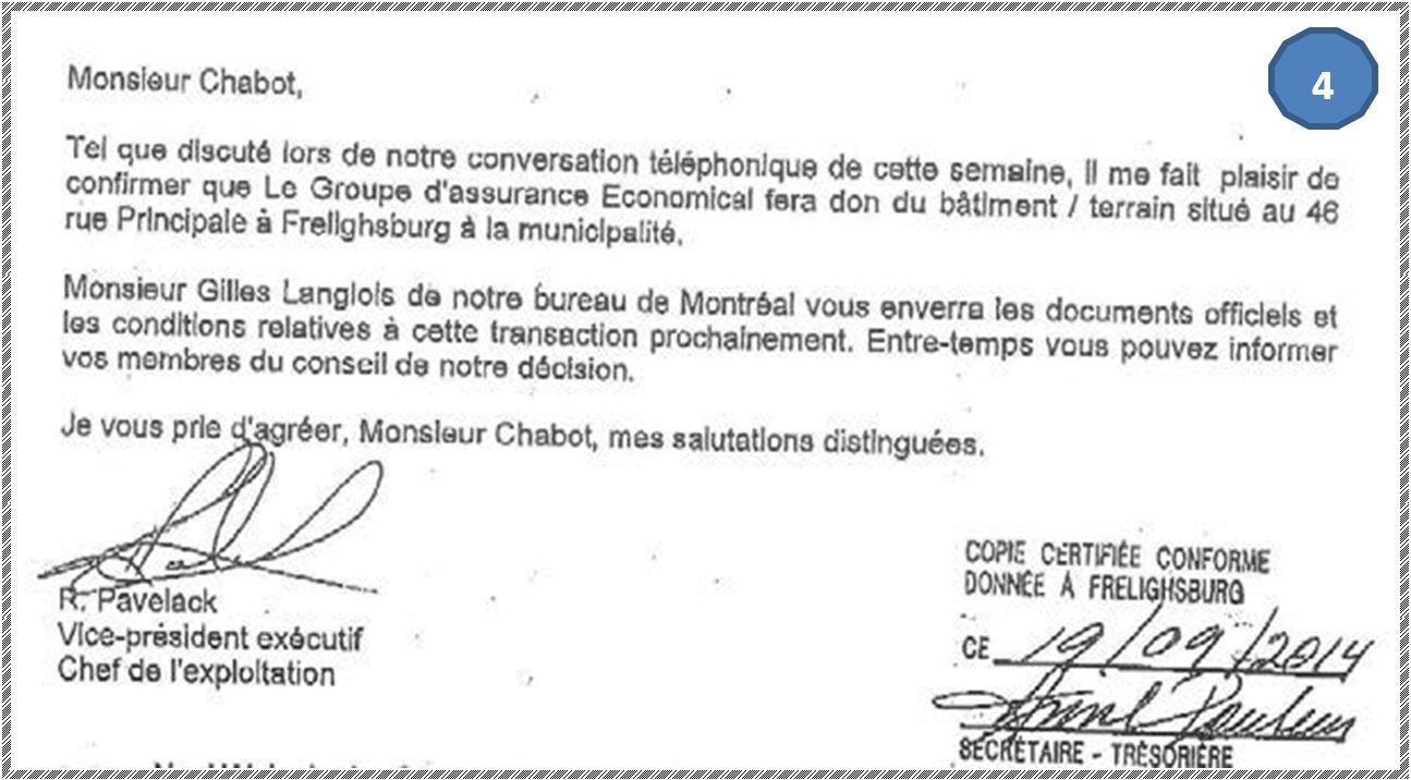 Lettre de Ronald Pavelack au maire, le 7 août 2007