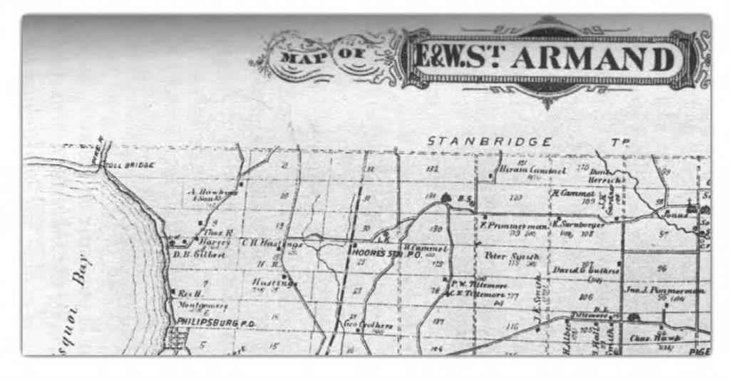 Carte de St-Armand Est et Ouest – Illustrated Atlas off the Eastern Townships and South Western Québec, H. Belden & Co, 1881.